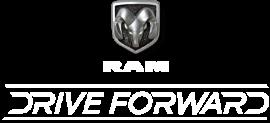 Logotipo de Drive Forward y logotipo de la cabeza de carnero de Ram.