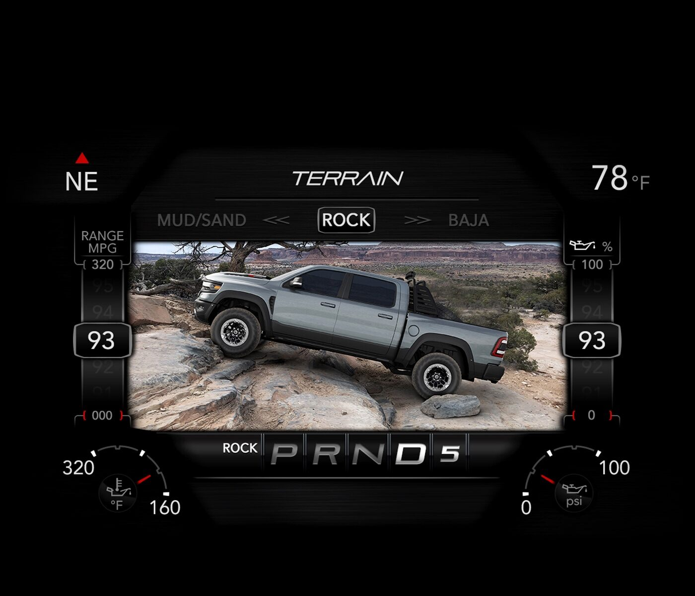 A close-up of the digital cluster display on the 2021 Ram 1500 TRX displaying the settings for the Rock Mode.
