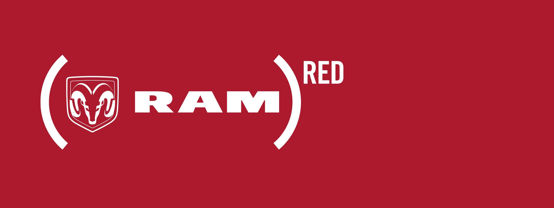 Logo de cabeza de carnero de Ram y marca Ram, rodeados por el logo de Product Red.